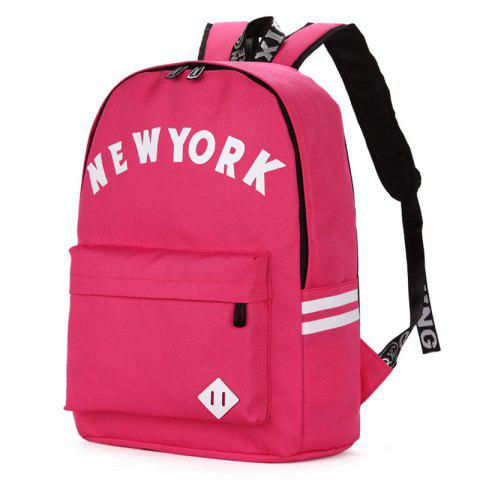 Shop Striped Letter Print Backpack ROSE RED
