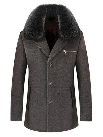Single Breasted Detachable Collar Wool Blend Coat