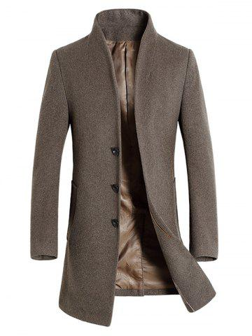 Covered Button Shawl Collar Wool Blend Coat
