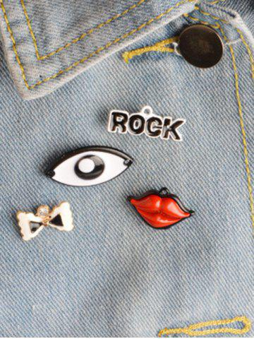 Hot Rock Bows Lips Eye Brooch Set