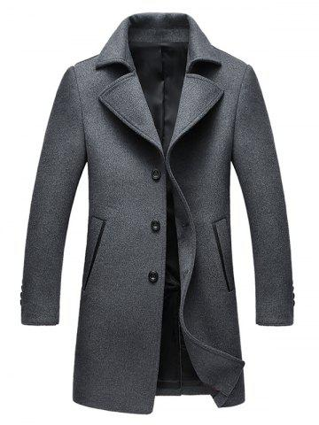 Best Single Breasted Notched Collar Wool Blend Coat GRAY XL