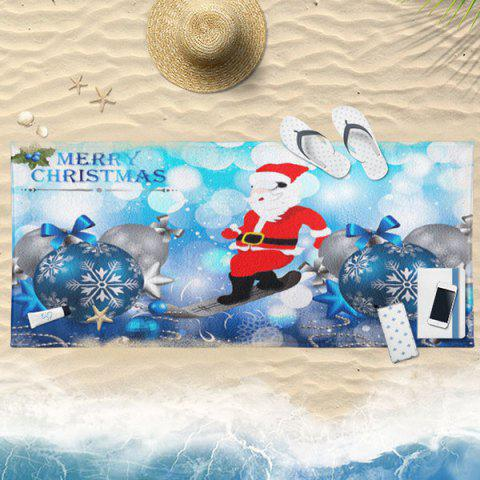 Sale Christmas Ball Santa Claus Print Bath Towel ICE BLUE 75CM*150CM