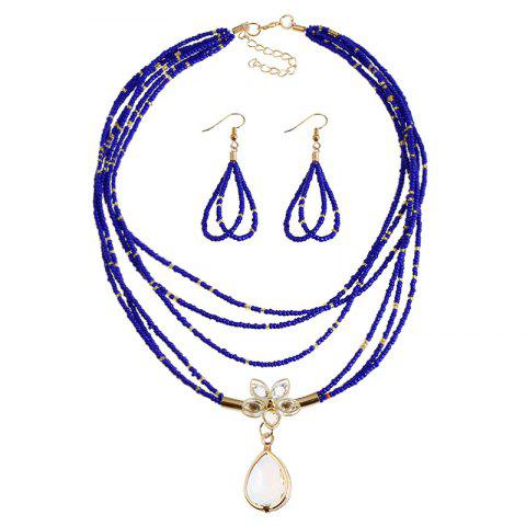 Sale Teardrop Flower Beaded Necklace and Earrings - BLUE  Mobile