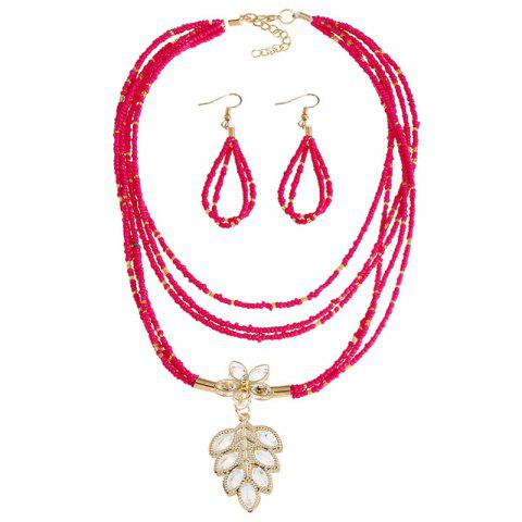 Trendy Teardrop Flower Beaded Necklace and Earrings ROSE RED