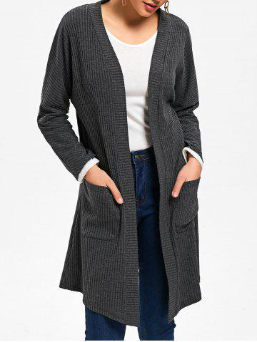 Discount Open Front Drop Pockets Ribbed Coat MOUSE GREY M