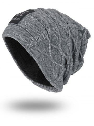 Store Letters Label Double-Deck Thicken Knit Hat GRAY
