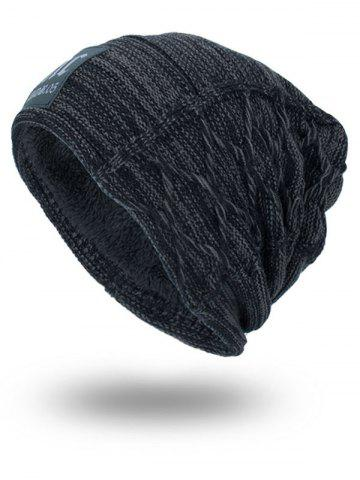 Hot Letters Label Double-Deck Thicken Knit Hat - DEEP GRAY  Mobile