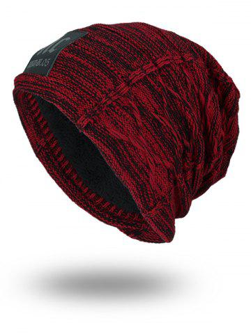 New Letters Label Double-Deck Thicken Knit Hat - WINE RED  Mobile