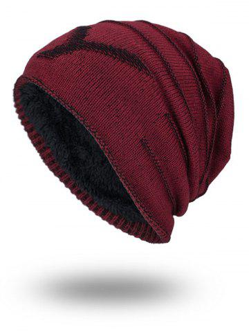 Trendy Double-Deck NY Thicken Knit Hat - WINE RED  Mobile