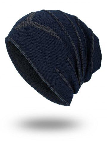 Affordable Double-Deck NY Thicken Knit Hat - PURPLISH BLUE  Mobile