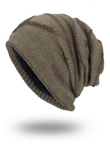 Chic Double-Deck NY Thicken Knit Hat KHAKI