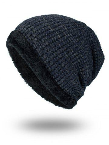 Sale Double-Deck Thicken Knit Hat PURPLISH BLUE