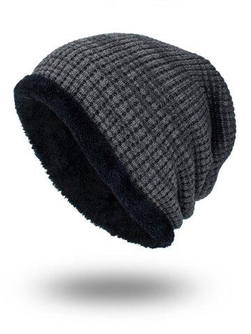Shop Double-Deck Thicken Knit Hat GRAY