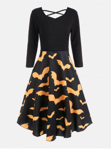 Outfit Bat Print Cross Back Fit and Flare Dress - 2XL YELLOW Mobile