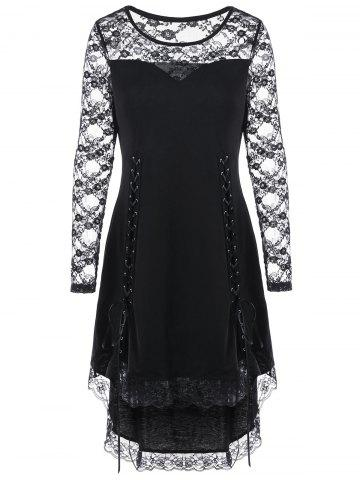 Cheap Halloween Lace Up Lace Yoke Cocktail Dress