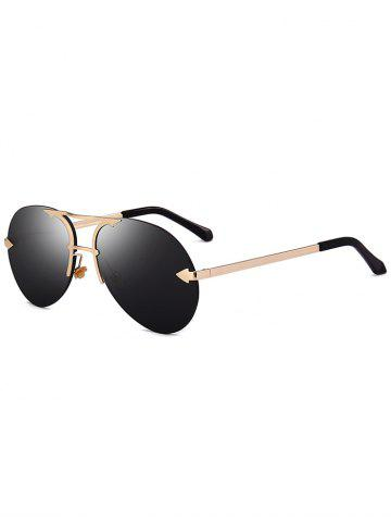 Shop Rimless Alloy Panel Pilot Sunglasses