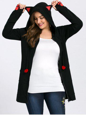 Sale Plus Size Zip Hoodie with Ears BLACK 5XL