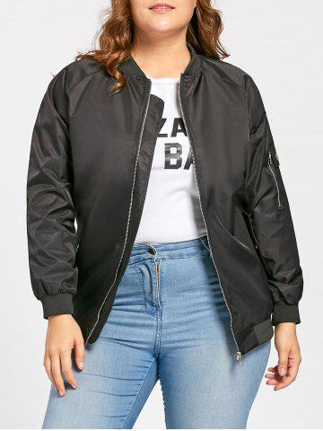Hot Plus Size Pockets Zip Up Bomber Jacket