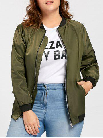 Discount Plus Size Pockets Zip Up Bomber Jacket