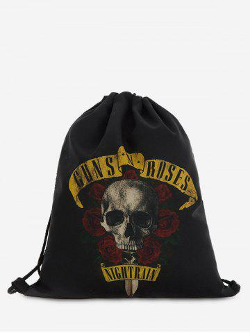 Outfits Drawstring Roses Skull Backpack BLACK