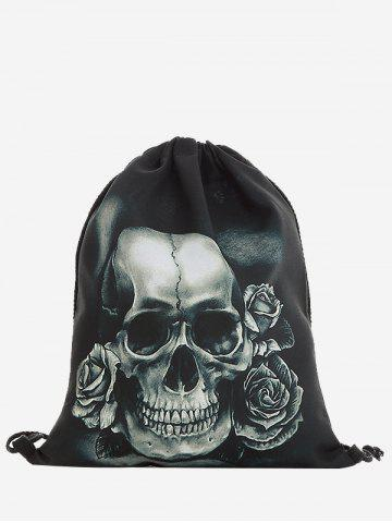 New Drawstring Roses Skull Backpack GRAY