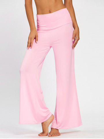 Sale Wide High Waistband Plain Flare Pants PINK M