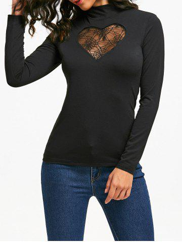 Latest Halloween High Neck Spider Web Cut Out Tee - M BLACK Mobile