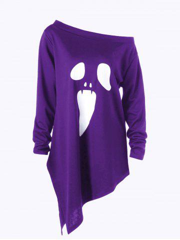 Discount Halloween Plus Size Graphic Asymmetric Skew Neck Sweatshirt