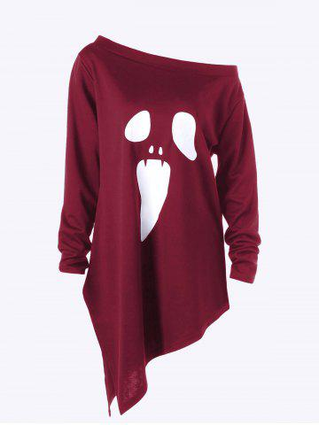 Hot Halloween Plus Size Graphic Asymmetric Skew Neck Sweatshirt WINE RED 3XL