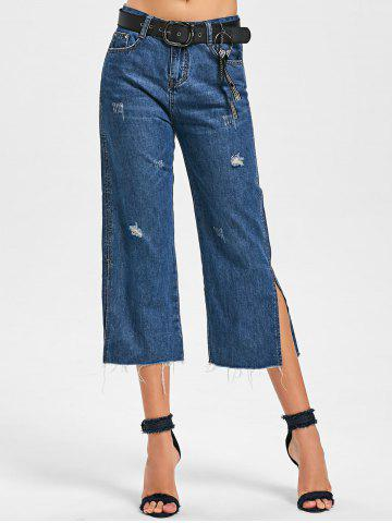 Chic Fringe Side Slit Scratch Denim Capri Pants