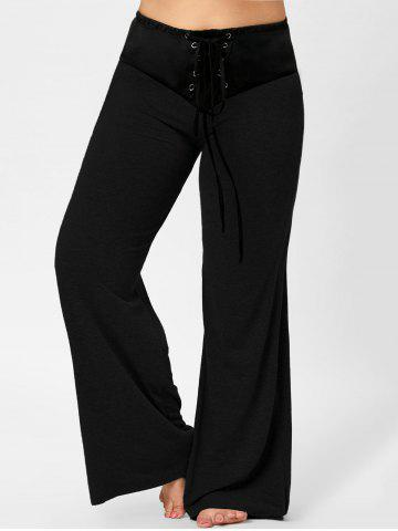Lace-up Plus Size Two Tone Flare Pants