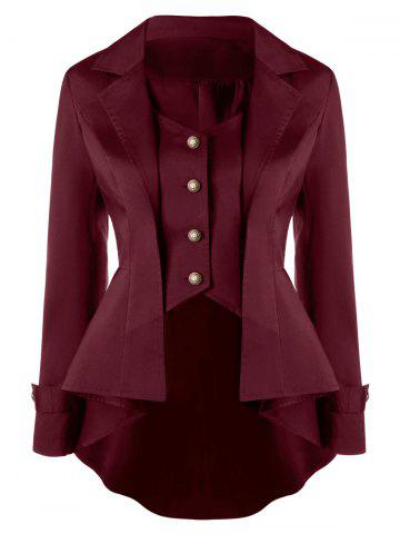 Sale Notched Collar Button Up High Low Coat DARK RED L