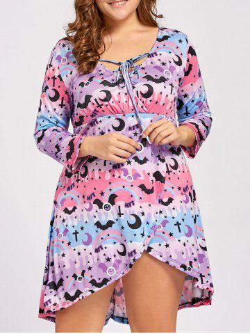 Chic Lace Up High Low Plus  Size Halloween Dress PINK AND PURPLE XL