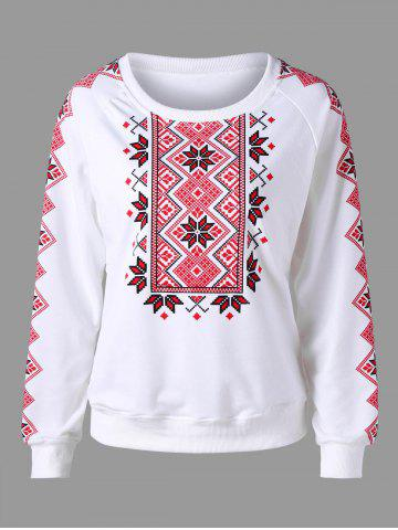 Chic Raglan Sleeve Tribal Print Sweatshirt WHITE XL