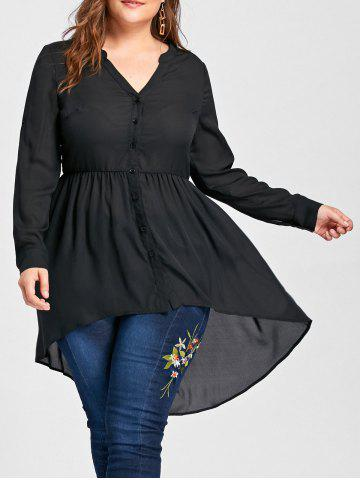Outfits V Neck High Low Plus Size Tunic Blouse BLACK XL