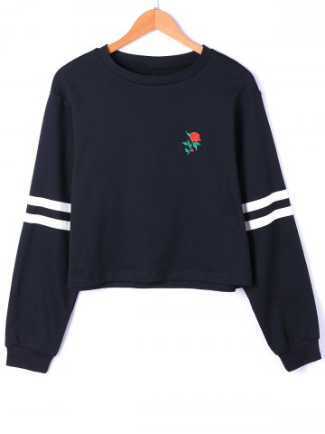 Cheap Pullover Stripes Floral Embroidered Drop Shoulder Sweatshirt