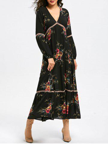 Shops Empire Waist Floral Print Maxi Dress BLACK 2XL
