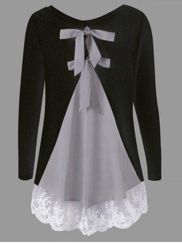 Outfit Long Sleeve Back Bowknot Lace Panel Knit Top