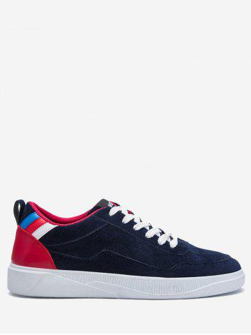 Discount Round Toe Color Block Canvas Skate Shoes