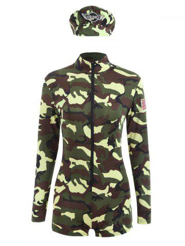 Fancy Camouflage Long Sleeve Soldier Costume