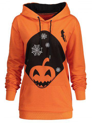 Trendy Plus Size Kangaroo Pocket Halloween Pumpkin Hoodie