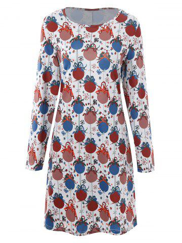 Trendy Bell Printed Plus Size Christmas Dress with Sleeves