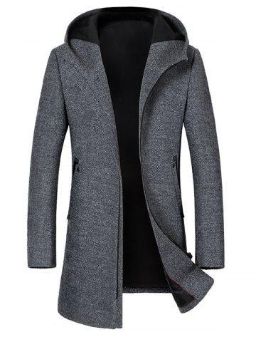 Online Zip Up Hooded Wool Blend Coat