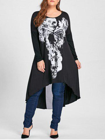 Trendy Halloween Plus Size Asymmetric Mesh Panel Skulls T-shirt