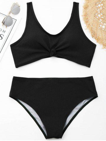 Shops Ribbed Knotted Plus Size Swimwear