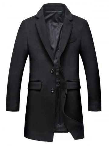 Flap Pocket Covered Button Wool Blend Coat