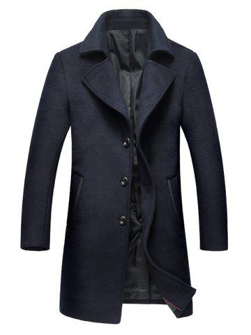 Single Breasted Notched Collar Wool Blend Coat