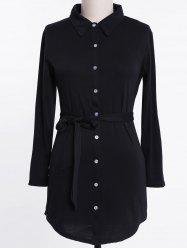 Long Sleeve Plus Size Button Up Shirt Dress -