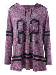 Plus Size Graphic Marled Tunic Hoodie - Purplish Red - 5xl