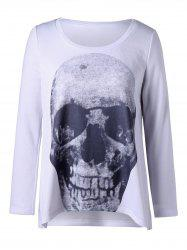 Plus Size Skull Long Sleeve Top - WHITE 2XL